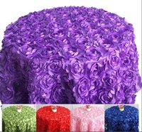 Wholesale Purple Cloth Tablecloths - Table cloth Table Cover round for Banquet Wedding Party Decoration Tables Satin Fabric Table Clothing Wedding Tablecloth Home Textile WT027