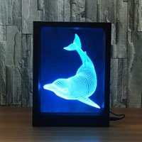 Wholesale Cup Frame - 3D Dolphin LED Photo Frame Decoration Lamp IR Remote 7 RGB Lights DC 5V Factory Wholesale Drop Shipping