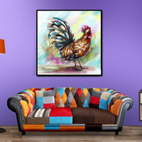Wholesale spray cock - Unframed Modern Abstract Oil Painting Cock Crowing Huge Wall Decor Art On Canvas