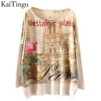 Wholesale Castle Jumpers - Wholesale- KaiTingu 2015 New Fashion Winter Women Sweater and Pullovers Long Batwing Sleeve Knitted Jumper Knitwear Castle Print Sweaters