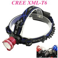 Wholesale Head Lamps Fishing - FISH-EYE LENS 2000Lm Waterproof CREE XML T6 Zoom LED Headlight Headlamp Head Lamp Light Zoomable Adjust Focus For Bicycle Camping Hiking
