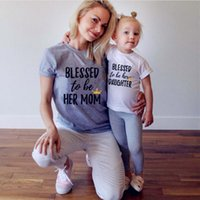 Wholesale Mommy Daughter Clothing - Cheap Summer Baby Clothing New Matching Outfits New Kids Clothing Short Sleeve Printing Casual Mother Daughter Dresses Clothes Mommy and Me
