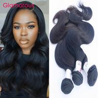 Wholesale 32 Extensions Real Hair - Glamorous Peruvian Body Wave Hair Weave 100% Real Natural Human Hair Extensions 3Bundles Indian Malaysian Brazilian Wavy Hair Weaves 100g pc