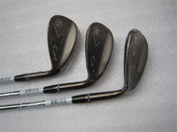 """Wholesale Grinding S - X C-Grind Wedge Black C-Grind Golf Wedges High Quality New Golf Clubs 52"""" 56"""" 60"""" Degree Steel Shaft With Head Cover"""