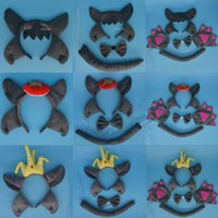 Wholesale Wolf Headband Wholesale - Princess Prince Girl Kids Animal Ear Headband Tail Tie Wolf Cosplay Party Favors Halloween Stage Show Hair Accessories