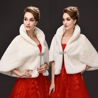 Wholesale White Fur Bridal - Hot Sale 2017 New Bridal Wraps Faux Fur Shawl Jacket For Weddings White Ivory Winter Warm Rhinestone Bride Bolero CPA913