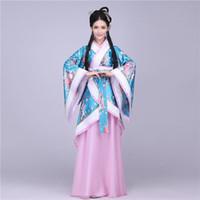 Wholesale Chinese Costume Tang Dynasty - q0228 Traditional Chinese Beautiful Dance Hanfu Dress Chinese Dynasty Costume Ancient Chinese Tang Costume Hanfu Women's Hanfu Dresses