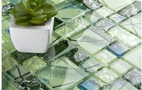 Crystal Green Glass Mosaik Fliesen Pool Küche Backsplash Wandfliesen, stilvolle Bad Dusche / Home Verbesserung Wandfliese, LSBV1101A