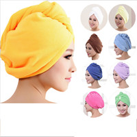Wholesale- 2017 8 couleurs Microfibre Solid Hair Turban Quickly Dry Hair Hat Femmes Filles Lady's Cap Bathing Tool Drying Towel Head Wrap Hat