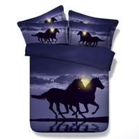 Design de mode 3D Blue Moon Galloping Horse Ensemble de literie pour animaux Twin Full Queen King Size Tissu Cotton Dovet Covers Oreiller Shams Consolateur