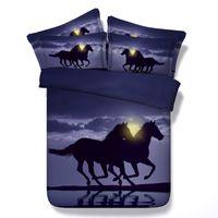 ingrosso tessuti di tessuto blu-Fashion Design 3D Blue Moon Cavallo al galoppo Set di biancheria da letto per animali Twin Full Queen King Size Tessuto in cotone piumino Copertine Cuscino Shams Consolatore