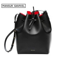 Wholesale Leather Drawstring Purse - Wholesale-Mansur Gavriel Bucket Bag Leather Women Shoulder Famous Brand Luxury Crossbody Bags For Female Drawstring With Small Purse Mini