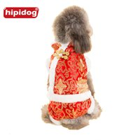 Wholesale Pet Tang Suit - Hipidog Puppy JuChinese Tradetional Tang Suit Coat jumpsuit Autumn Winter Warm Clothes for Small Dog Pet Dog Parkas Overalls