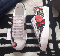 Wholesale Band Elastic Flower Ladies - 2017 New men Womens Fashion White Leather Luxury tiger Cock Love Flower Embroidered Flat Casual Shoes Lady Red Green Shoes Size 35-45