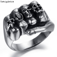 Wholesale Biker Rings Men - Fashion Men Fist Skull Ring With Box Packing Gothic Flower Skull Stainless Steel Biker Ring Anarchy Death