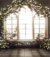 Wholesale Printing Wedding Pictures - 8x12ft Romantic Wedding Photo Backdrops Retro Vintage French Window Spring Flowers Studio Decor Props Photography Picture Background Cloth