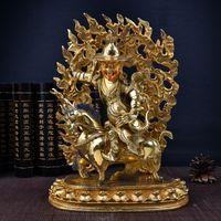 Wholesale Antique Tibetan Buddhist - #001A Tibetan Buddhist Dharmapala Dharma Protector Brass Gold plated Buddha Statue 31CM Metal Sculpture Figurine Pure Handmade