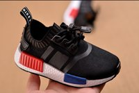 Wholesale Athletic shoes nmd black running boy kids girl boy althletic Euro26 Shoes Baby Shoes Fashion