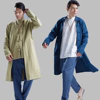 Wholesale Chinese Style Coat Men - Wholesale- New Men Trench Coat Windbreaker Men 100% Linen Long Coat Men China Style Kung Fu Jacket Solid Color Cardigan Overcoat Q396