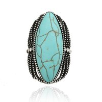 böhmische edelsteinringe großhandel-New Vintage Frauen Edelstein Schmuck Antik Silber Tibetischen Türkis Böhmischen Ethnischen Ring Für Frauen Großhandelspreis