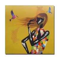 pintura livre meninas nuas venda por atacado-Frete grátis nice design preto nude sexy jovem 12 bela pintura a óleo de vestir barato art paintngs