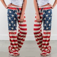 Wholesale usa pants - Panties Summer Loose American Flag Printed Drawstring Vintage Striped Wide Leg Pants USA Strapless Sequins Jumpsuits With Hip Pencil Pants