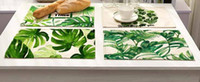 Wholesale Left Western - New 42x32cm Green Leaves Pattern Cotton Linen Western Pad Placemat Insulation Dining Table Mat Bowls Coasters Kitchen Accessories