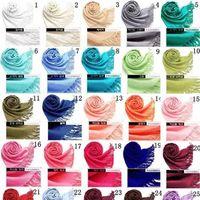 Wholesale Fringe Girl - 2018 40 Colors Hot Pashmina Cashmere Solid Shawl Wrap Women's Girls Ladies Scarf Soft Fringes Solid Scarf
