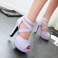 Wholesale Heels Strap Size 32 - Bridesmaid Sexy Platform High Heel Cross Strappy Sandals Shoes Extra Plus Size 31 32 33 34 to 40 41 42 43