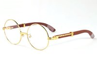 klare linse großhandel-Mode Randlose Runde Sonnenbrille Marke Designer Sonnenbrille für Männer Frauen Büffelhorn Gläser Klar braun Objektiv Holzrahmen mit Box
