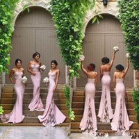 Wholesale Custom Designed Fitted Caps - 2017 New Design Sexy Spaghetti Straps Mermaid Bridesmaid Dresses Appliqued Lace Appliqued Fitted Prom Dresses Country Wedding Party Dresses