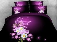 Wholesale Butterfly Twin Comforter - 3D Purple Floral Bedding set Rose Flower quilt duvet cover bed sheet linen bedspread Super King Queen size twin Butterfly 4PCS