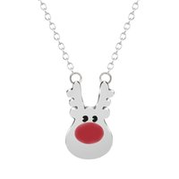 Wholesale christmas necklace kids pendants resale online - 10pcs Simple Style Red Christmas Deer Statement Necklace Reindeer Rudolph Women Jewelry Kids Girls Gift