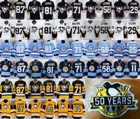 Wholesale Lemieux Jerseys - 50 Years Pittsburgh Penguins 87 Sidney Crosby 50th Patch Jerseys 2017 Hockey 58 Kris Letang 71 Evgeni Malkin 81 Phil Kessel 66 Mario Lemieux