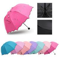 Wholesale Parapluie Transparent - New Lady Princess Magic Flowers Dome Parasol Sun Rain Folding Umbrella Prain Women Transparent Umbrella Parapluie Brass Knuckles