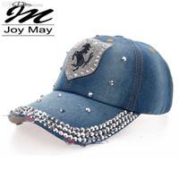 ingrosso cappello del cappello di joymay-Vendita calda di alta qualità Vendita calda Vendita al dettaglio JoyMay Cappello Cap Moda per il tempo libero HORSE Strass Vintage Jean Cotone CAPS Berretto da baseball B093