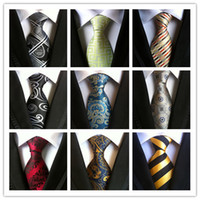 Wholesale Silk Tie 8cm - Classic 100% Silk Mens Ties New Design Neck Ties 8cm Plaid&Striped Ties for Men Formal Wear Business Wedding Party Gravatas