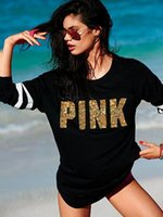 Wholesale Shirts Bling For Women - Striped Pink Letter Sequin Women's T-shirt Spring Autumn Long Sleeve Pullover Tops for Lady Bling Bling Black Women's Tee S-XL