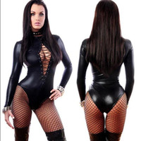 Wholesale Lingerie Leotards - Hot Women Sexy Black Vinyl Leather Lingerie Bodysuits Erotic Leotard Costumes Rubber Flexible Latex Catsuit Catwomen Costume