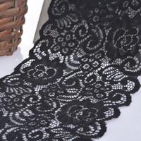 siyah dantel kumaş düzeltme toptan satış-5 Metre Genişliğinde Siyah / Beyaz Elastik Işlemeli Dantel Trim Şerit Kumaş DIY El Sanatları Dikiş Aksesuarları Düğün Saç Giysiler malzemeleri