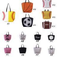 Wholesale Sporting Softball - Canvas Bag Baseball Tote Sports Bags Casual Softball Bag Football Soccer Basketball Cotton Canvas Tote Bag KKA1814