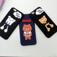 Wholesale Decorations For Mobile Phone Case - The New South Korea cartoon bear soft silicone patch DIY mobile phone shell decoration accessories protective case for IPHONE 5 6 7 7 PLUS