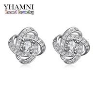 schmuck earing silber großhandel-YHAMNI Neue Mode Earing Für Mädchen Reine Feste 925 Silber CZ Diamant Kristall Hochzeit Schmuck Charme Earing SE029