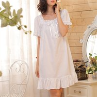 Wholesale Women Cotton Nightdress - Wholesale- 2017 Brand Sleep Lounge Women Sleepwear Cotton Nightgowns Sexy Indoor Clothing Home Dress White Nightdress Plus Size