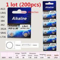 Wholesale Battery Lr41 - 200pcs 1 lot AG3 LR41 192 384 392 392A SR41 L736 1.55V Alkaline Button Cell Battery coin batteries Free Shipping