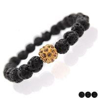 Wholesale Crystal Clay For Sale - Fashion Lava Rock beads bracelets women Black High Polished Matte Crystal men Beaded bangle Clay Crystal charms Bracelet Jewelry For sale