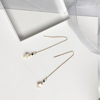 Wholesale Taps Plating Alloys - Simple shells fine small stars long black drill taps earrings wholesale free shipping