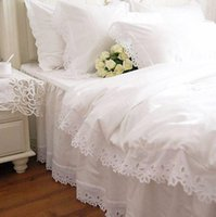 Wholesale Chinese Bedspreads - Wholesale-Fashion European bedding set white satin hollow out embroidery bedding duvet cover cotton elegant bedspread lace pillowcase