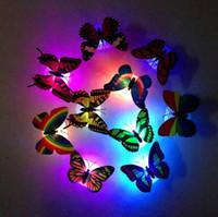 appliques murales pour enfants achat en gros de-5.5 * 6 * 3.6CM papillon rougeoyant nuit lampe led bas autocollant nuit lumière pour enfants romantique Home Decorative Wall Nightlight