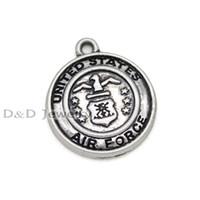 Wholesale United Forces - Wholesale- 20pcs lot--Antique Tibetan Silver United States Air Force charm pendants,US Air Force Charms 23x20mm